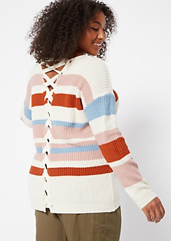 Plus Mauve Striped V Neck Lace Up Back Sweater
