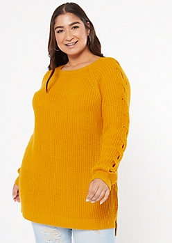 Plus Mustard Cable Knit Sleeve High Low Sweater