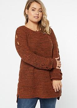 Plus Burnt Orange Marled Cable Sleeve Tunic Sweater