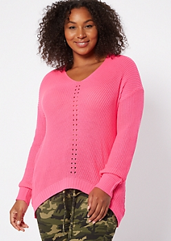 Plus Neon Fuchsia High Low Pointelle Sweater