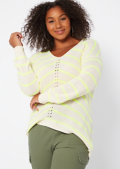 Plus Neon Yellow Striped High Low Pointelle Sweater