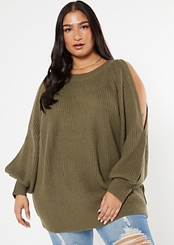 Plus Olive Split Balloon Sleeve Sweater