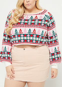 Plus Fair Isle Christmas Tree Crop Sweater