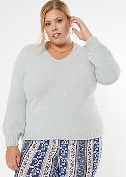 Plus Gray Rolled Hem Chenille Sweater