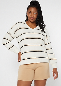 Plus Ivory Striped Rolled Hem Chenille Sweater