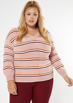 Plus Pink Striped Rolled Hem Chenille Sweater