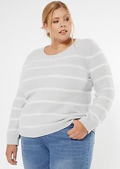 Plus Gray Striped Chenille Crew Neck Sweater