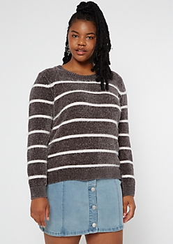 Plus Washed Black Striped Chenille Crew Neck Sweater