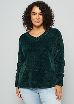 Plus Dark Green V Neck Chenille Sweater