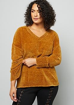 Mustard V Neck Chenille Sweater