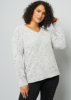 Plus Marled Gray V Neck Chenille Sweater