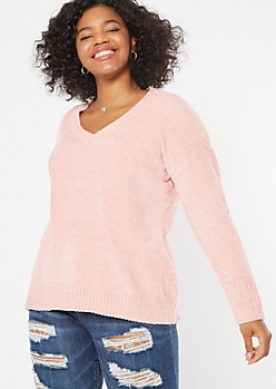 Plus Pink V Neck Chenille Sweater