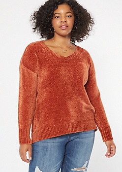 Plus Burnt Orange V Neck Chenille Sweater