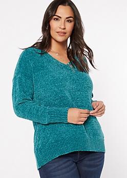 Plus Teal V Neck Chenille Sweater