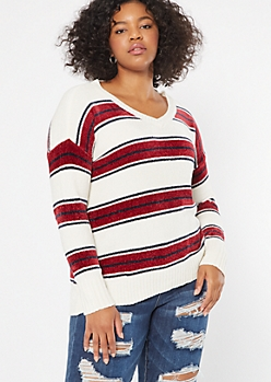 Plus Dark Red Striped V Neck Chenille Sweater