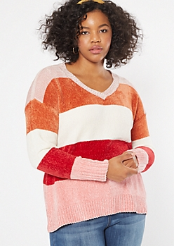 Plus Pink Striped V Neck Chenille Sweater