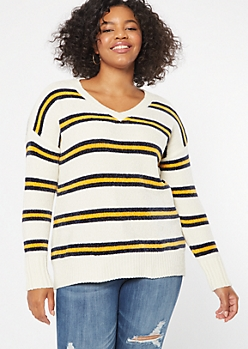 Plus Gold Striped V Neck Chenille Sweater