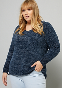 Plus Navy Metallic Thread V Neck Chenille Sweater