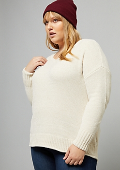 Plus Ivory Metallic Thread V Neck Chenille Sweater