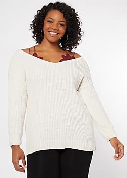 Plus Cream Chenille Slouchy Sweater