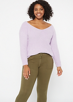 Plus Lavender Chenille Slouchy Sweater