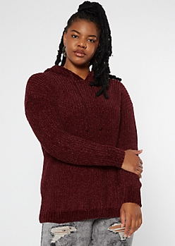 Plus Burgundy Chenille Sweater Hoodie