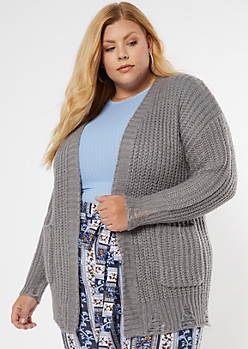 Plus Gray Destroyed Hem Grandpa Cardigan