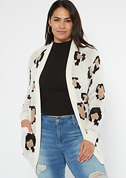 Plus Cream Leopard Print Cardigan