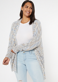 Plus Blue Marled Double Pocket Oversized Cardigan