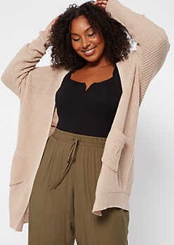 Plus Nude Open Front Drop Sleeve Cardigan