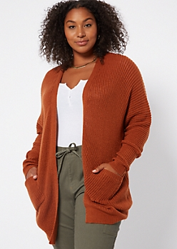 Plus Burnt Orange Open Front Drop Sleeve Cardigan