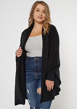 Plus Black Dolman Sleeve Oversized Cardigan