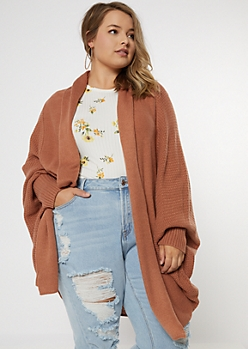 Plus Burnt Orange Dolman Sleeve Oversized Cardigan