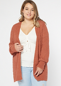 Plus Burnt Orange Boucle Open Front Cardigan
