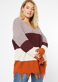 Plus Purple Striped Fringed V Neck Sweater
