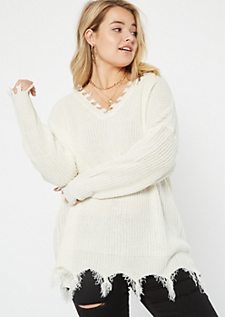 Plus Ivory Fringed V Neck Sweater