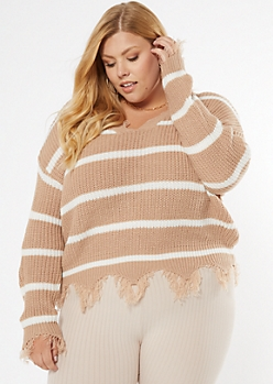 Taupe Striped Frayed Hem Skimmer Sweater