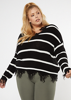 Black Striped Frayed Hem Skimmer Sweater