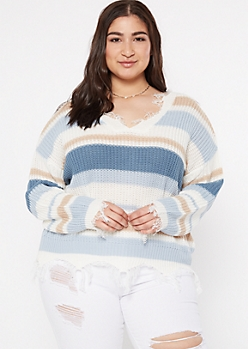 Plus Blue Striped Scalloped Hem Distressed Sweater
