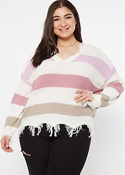 Plus Purple Striped Scalloped Hem Distressed Sweater