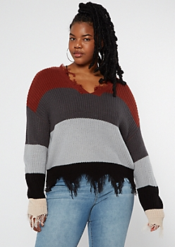 Plus Burnt Orange Striped Scalloped Hem Distressed Sweater