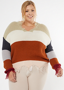 Plus Beige Striped Scalloped Hem Distressed Sweater