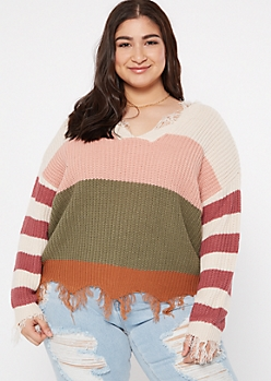 Plus Olive Striped Scalloped Hem Distressed Sweater