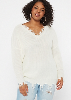 Plus Ivory Distressed Oversized Sweater