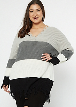 Plus Black Striped Distressed Oversized Sweater