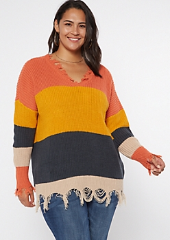 Plus Yellow Striped Frayed Hem Oversize Sweater