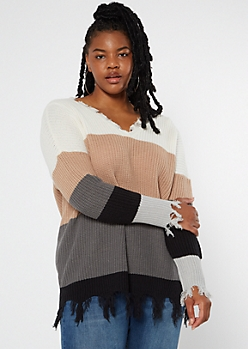 Plus Tan Striped Frayed Hem Oversize Sweater