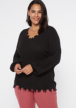 Plus Black Bubble Sleeve Frayed Sweater