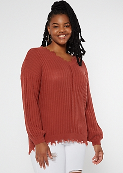 Plus Brick Red Bubble Sleeve Frayed Sweater
