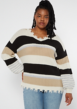 Plus Tan Striped Bubble Sleeve Frayed Sweater